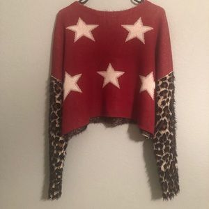 Nasty Gal star and spot cropped sweater